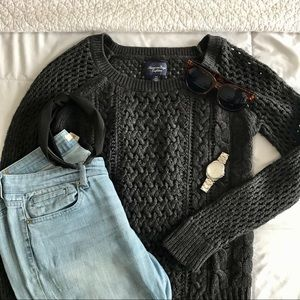 American Eagle Charcoal Grey Knit Sweater